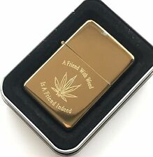 Personalised Engraved A Friend With Weed Cannabis Star Gold Petrol Lighter (T152