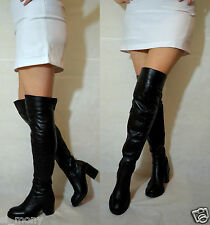 Women Black Over Knee Boots Real Leather Block Heel Half Zip Toshop Size 4