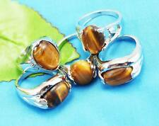 wholesale 10pcs Thick Silver mixed 100% Natural Tiger's eye rings Jewelry 6-10
