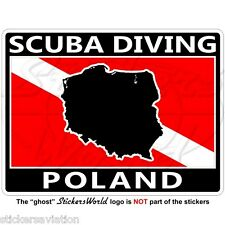 "POLAND SCUBA DIVING Flag-Polish Map Shape 100mm (4"") Rectangular Sticker Decal"
