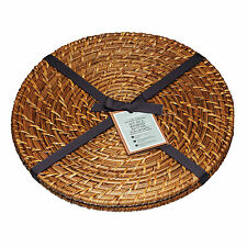 Kitchen Craft 28cm Artesa Set of 2 Round Bamboo Rattan Table Placemats ARTPMPK2