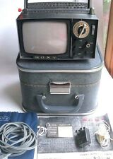 SONY MICRO TV 5-303W Mini Vintage Television Set in Case Manual Earbuds Cloth