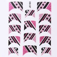 Nail Art Decal Stickers Glitter Nail Tips Pink & Black Stripes w/ Stars JC103