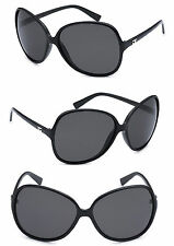 Retro DG Womens Oversized Cat Eyes Butterfly Shape Sunglasses - Black CG104
