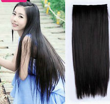 Black Color long clip on off fake Hair Extension 22 inch 100gm Hair Accessories