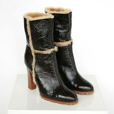 CASADEI $869 shearling fur brown patent leather Vikingo high heel boots 36 NEW