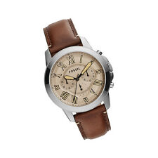 New Fossil FS5214 Grant Chronograph Stainless Steel Dial Brown Band Men Watch