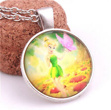 Chic Fairy Girl Tinkerbell & Butterfly Portrait Dome Glass Silver Chain Necklace