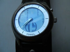FOSSIL MEN'S BLACK LEATHER BAND ANALOG WATCH.QUARTZ:BATTERY.