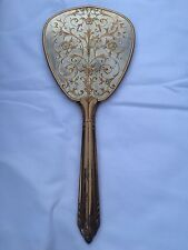 Vintage Ornate French Made Hand Held Mirror Brass Colored