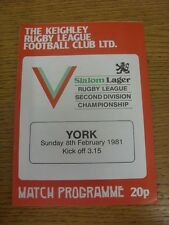 08/02/1981 Rugby League Programme: Keighley v York  . Condition: We aspire to in