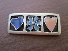 Silver Tone & Enamel Pin with Hearts & Blue Flower