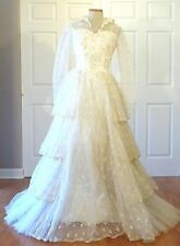 Vintage 50s 60s Tulle Flocked Wedding Dress Gown