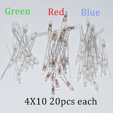 60pcs Neon Indicator Light Sign Bulbs 4*10mm RED Green Blue 20pcs Each Mix Lamps