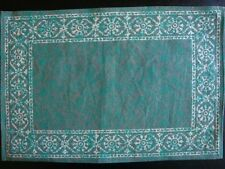 Handmade Cotton Floral Bouquet Filigree Placemat Table Linen Greens Rectangular