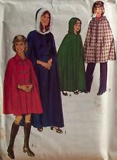 "VINTAGE 1974 'STYLE' GIRL'S CAPE OPTIONAL HOOD SEWING PATTERN 4879 SIZE 10 28""B"