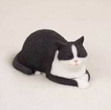 CAT NAP  BLACK WHITE CAT Figurine Statue Hand Painted Resin Gift