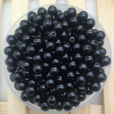 New 50Pcs 8mm Black Acrylic Round Pearl Spacer Loose Beads Jewelry Making