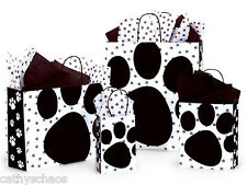 4 Sizes Pooch's Paws Black Animal Cat Dog Paw Print Kraft Paper 125 Gift Bags