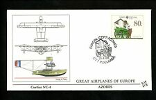 Postal History Portugal Azores FDC #370 Europa horse mail coach airplane 1988