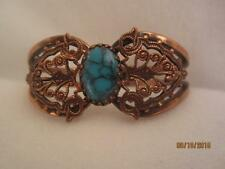 VINTAGE COPPER & FILIGREE CLAMPER BANGLE BRACELET W/ FAUX TURQUOISE CABOCHON