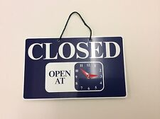 OPEN CLOSED HANGING SIGN SHOP DOOR WINDOW - WITH MOVEABLE CLOCK HANDS