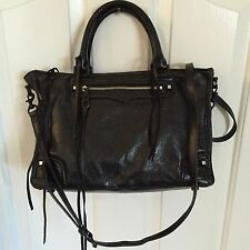 REBECCA MINKOFF *REGAN* BLACK LEATHER SATCHEL CROSSBODY *EUC*
