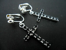 A PAIR OF SILVER  & BLACK DIAMANTE/RHINESTONE  CROSS CLIP ON EARRINGS. NEW.