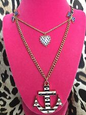 Betsey Johnson Ivy League Striped Anchor Lucite Heart Bow Nautical Necklace