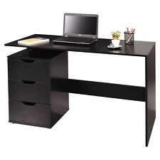 Wood Computer Desk Laptop Table Office Home W/ 3 Drawers Storage Black US STOCK