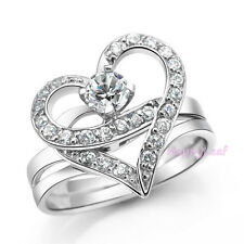 Heart Shaped Ring *2in1* Detachable 2ct White Russian Cubic Zirconia 7.5 Bridal