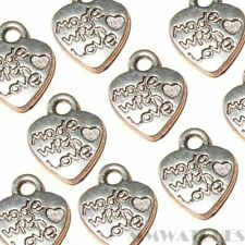 10 TIBETAN ANTIQUE SILVER MADE WITH LOVE HEART CHARM PENDANT BEAD 10mmx12mm TS65
