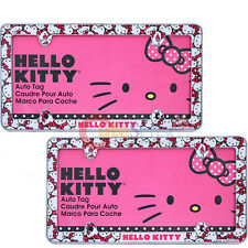 Sanrio Hello Kitty  Car License Plate Frame 2pc  Auto Accessories Face All Over