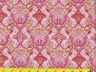 Pink Red & Yellow Victorian Floral Design Quilting Fabric by Yard #623