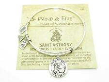 Wind & Fire Saint Anthony Charm Wire Bangle Stackable Bracelet Made USA New Gift