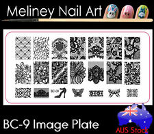 BC-09 Stamping Nail Art Image Plate Design Rectangle XL Stencil metal