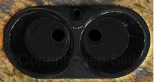 33in Black Gloss Fireclay Ceramic Double Bowl Drop In Kitchen Sink Modern Round