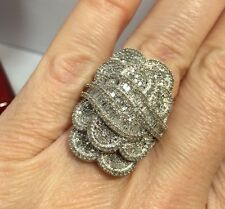 "1"" Sterling Silver 2 - 3 Carat Diamond Pave Cluster Cocktail Wedding Ring 10 1/2"