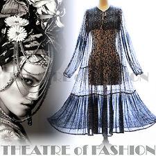 Vestido De Colección De La India Adini 70s 8 10 12 14 16 18 Gasa Hippy Boho Boda S M L