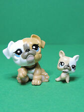 #3588 3587 chien dog cream White Baby Mommy Bulldog LPS Littlest Pet Shop Figure