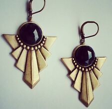 Art Deco Vintage Brass Swag Pendant Drop Earrings Black Gemstone