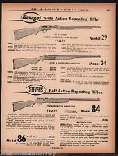 1962 SAVAGE Model 29 & 24, STEVENS 84 Bolt-Action Rifle AD wspecs & prices