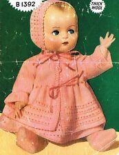 "Dolls clothes knitting pattern for  20"" Baby doll. Laminated copy. (V Doll 103"