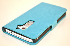 Turquoise Genuine Leather Wallet Card Case Cover Stand for LG G2 Holds Card Cash