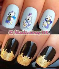 NAIL ART CHRISTMAS SET #822 FUN POLAR BEARS WATER TRANSFERS/STICKERS & GOLD LEAF