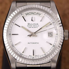Authentic Bulova Super Seville Day Date White Dial Automatic Mens Watch