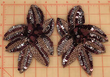2 beaded sequins appliques plum purple flowers antq silver gunmetal accent 6.75""