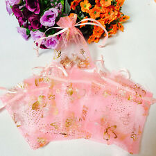 100pcs Pink Butterfly Drawstring Organza Bags Jewellery Candy Wedding Supplies