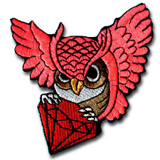 Pink Owl Diamond Bird  Animal Wildlife Embroidered Patch Iron on Applique