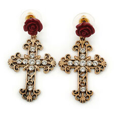 Vintage Inspired Filigree, Crystal Cross With Rose Drop Earrings In Antique Gold